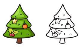 Árvore x-mas colorida e preto e branco para o livro para colorir ilustração do vetor