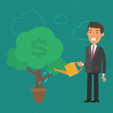 Árvore molhando do dinheiro do homem de negócios do conceito ilustração do vetor