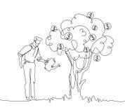 Árvore molhando do dinheiro do homem de negócios - uma linha ilustração do estilo do projeto Imagem de Stock Royalty Free