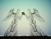 A árvore mostra em silhueta olhares como os anjos, povos como a planta, ilustração do vetor