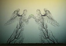 A árvore mostra em silhueta olhares como os anjos, povos como a planta, ilustração stock