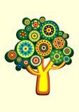 Árvore multi-colorida desenhos animados em um círculo Vetor Fotografia de Stock