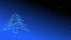 Árvore na neve levemente de queda ilustração do vetor