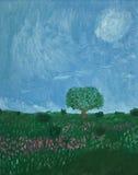 Árvore no campo Ilustração do Vetor