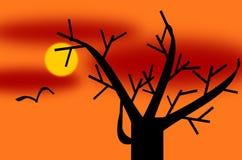 Árvore no tempo de inverno em um Sun ajustado com um pássaro de voo ilustração stock