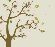 Árvore oriental da flor de cerejeira da natureza Ilustração do Vetor