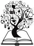 Árvore preta dos ícones da educação acima do livro Fotografia de Stock