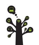 Árvore que tem elementos da coligação. ilustração stock