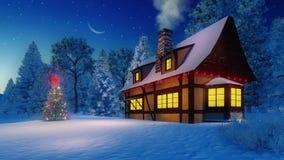Árvore rústica iluminada da casa e de Natal na noite Fotos de Stock Royalty Free