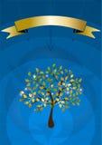 Árvore só coberta com as folhas brilhantes. Poster ilustração royalty free