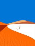 Árvore só no deserto ilustração do vetor