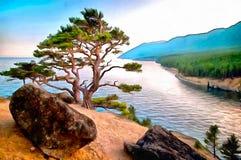 Árvore só no golfo alto de um lago mountain ilustração stock