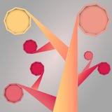 Árvore social abstrata dos meios com quadros arredondados Imagens de Stock Royalty Free