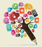 Árvore social do lápis do conceito dos meios Fotografia de Stock Royalty Free