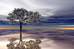 Árvore surreal e reflexão ilustração do vetor