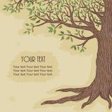 Árvore tirada mão com espaço para o texto Fotos de Stock