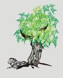 Árvore tribal do leão e de dragão Imagem de Stock Royalty Free
