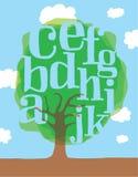 Árvore verde com letras ou alfabeto como as folhas Fotos de Stock Royalty Free