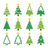 Árvore verde do Natal com os ícones da estrela ajustados Fotos de Stock Royalty Free