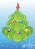 Árvore verde do vetor com brinquedos. ilustração do vetor