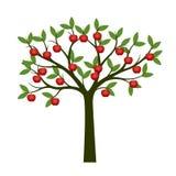 Árvore verde e frutos vermelhos da maçã Ilustração do vetor Fotografia de Stock Royalty Free