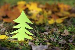 Árvore verde em um campo do outono Fotografia de Stock Royalty Free