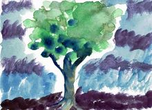 Árvore verde em uma pintura da cor da água da chuva Fotos de Stock