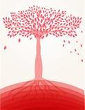Árvore vermelha no monte ilustração royalty free