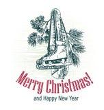 A árvore victorian do estilo do cartão de Natal apresenta o esboço que grava patins tirados lenço do esporte de inverno fotos de stock royalty free