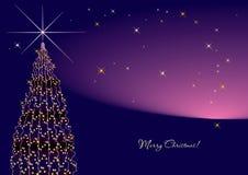 Árvore violeta do ano novo horizontal. Fotografia de Stock