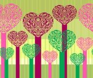 Árvores abstratas do coração Imagem de Stock
