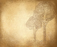 Árvores abstratas do vetor no fundo do grunge. Fotografia de Stock