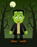 Árvores assustadores de Dia das Bruxas com Frankenstein fotografia de stock royalty free