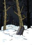 Árvores assustadores em um cemitério ilustração royalty free