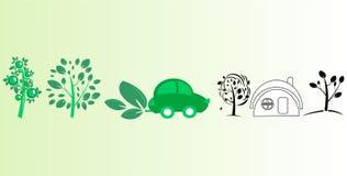 Árvores, carro e casa Fotografia de Stock Royalty Free