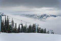 Árvores cobertos de neve na parte superior da montanha Fotos de Stock Royalty Free