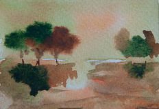 Árvores coloridas na pintura da aquarela da estação do outono Foto de Stock Royalty Free