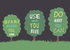 Árvores com citações. Fotografia de Stock