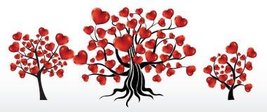 Árvores com corações Fotografia de Stock Royalty Free