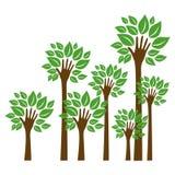 árvores com a haste no ícone da mão do formulário ilustração royalty free