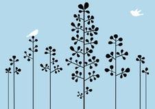 Árvores com pássaros ilustração do vetor