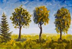 Árvores da pintura a óleo na grama verde contra o céu azul ilustração royalty free