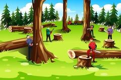 Árvores de corte dos povos Foto de Stock Royalty Free