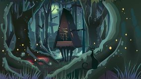 Árvores de Dia das Bruxas Forest Illustration Dark Night Witch da fantasia ilustração royalty free