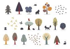 Árvores de floresta ajustadas Fotos de Stock Royalty Free