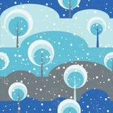 Árvores de floresta do inverno no vetor sem emenda da clareira Imagem de Stock