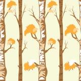 Árvores de floresta sem emenda do teste padrão no outono ou no inverno no fundo amarelo ilustração stock