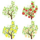 Árvores de fruto estilizados Fotografia de Stock Royalty Free