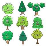 Árvores de Kawaii ajustadas ilustração do vetor