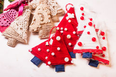 Árvores de matéria têxtil do Natal Foto de Stock Royalty Free